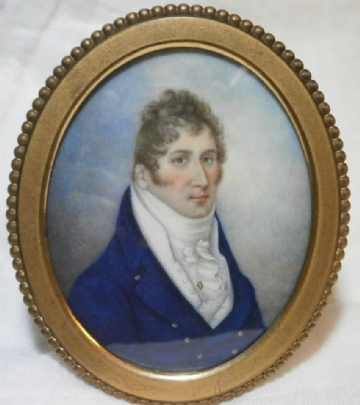 Antique Portrait Miniature Painting of Benjamin Hornsey 3rd May1809